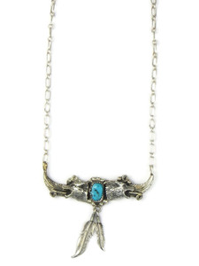 Turquoise Wolf Feather Necklace (NK4922)