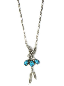 Turquoise Silver Eagle Feather Necklace (NK4925)