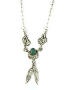 Malachite Silver Feather Necklace (NK4927)