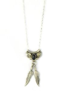 Black Onyx Feather Necklace (NK4929)
