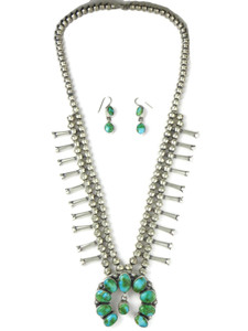 Sonoran Turquoise Squash Blossom Necklace Set (NK4930)