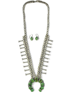 Sonoran Turquoise Squash Blossom Necklace Set (NK4931)