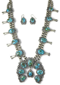 Kingman Turquoise Squash Blossom Necklace Set (NK4932)