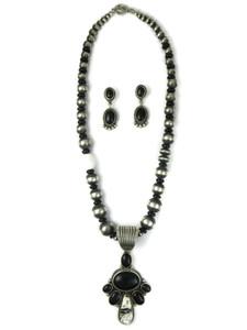 Onyx & White Buffalo Necklace Set by LaRose Ganadonegro (NK4936)