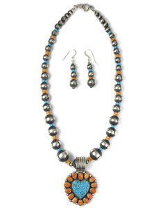 Kingman Turquoise & Spiny Oyster Shell Necklace Set by LaRose Ganadonegro (NK4938)