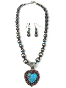 Kingman Turquoise & Spiny Oyster Shell Heart Necklace Set (NK4939)