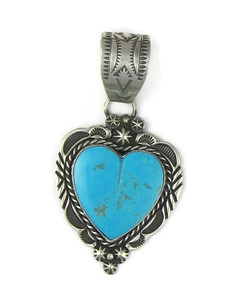 Kingman Turquoise Heart Pendant by Rick Werito (PD5031)