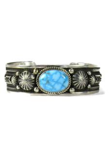 Water Webbed Kingman Turquoise Bracelet with Arrows by Albert Jake (BR6568)
