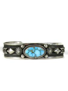Webbed Kingman Turquoise Bracelet with Arrows by Albert Jake (BR6570)