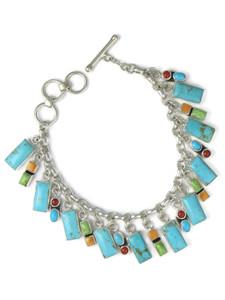 Kingman Turquoise & Gemstone Charm Bracelet - Reversible (BR6573)
