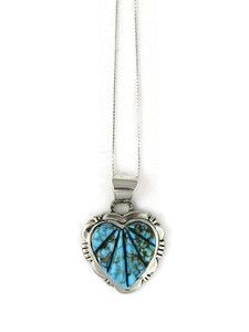 Kingman Turquoise Sculpted Inlay Heart Pendant (PD5033)