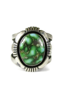 Green Sonoran Turquoise Ring Size 8 1/2 by Cooper Willie (RG6040)