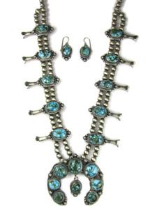 Kingman Turquoise Squash Blossom Necklace Set (NK4940)