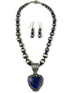 Lapis Heart Necklace Set by Rick Werito (NK4942)