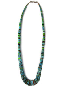 """Turquoise & Gemstone Heishi Necklace 25"""" (NK4946)"""