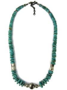 Fox Turquoise Silver Bead Necklace (NK4958)