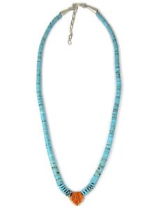 Kingman Turquoise Heishi & Spiny Oyster Shell Jacla Necklace (NK4959)