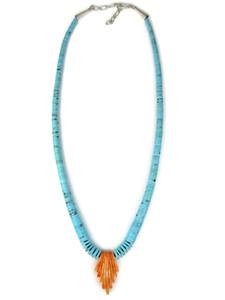 Kingman Turquoise Heishi & Spiny Oyster Shell Jacla Necklace (NK4960)