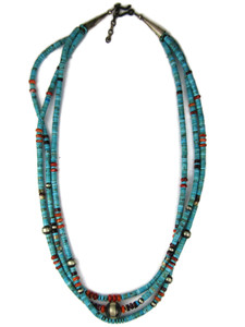 Three Strand Turquoise & Spiny Oyster Shell Beaded Necklace (NK4961)