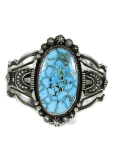 Webbed Kingman Turquoise Bracelet by Aaron Toadlena (BR6689)