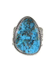 Kingman Turquoise Ring with Pyrite Size 12 1/2 (RG6045)