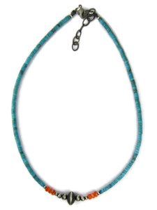 Turquoise Heishi, Spiny Oyster Shell Silver Bead Necklace (NK4964)