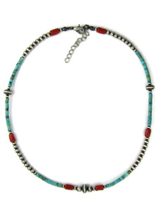 Turquoise Heishi, Coral &Silver Bead Necklace (NK4967)