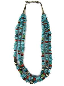 Three Strand Turquoise & Gemstone Bead Necklace (NK4969)