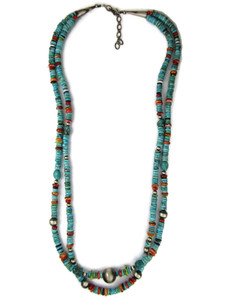 Long Two Strand Turquoise & Gemstone Bead Necklace (NK4970)