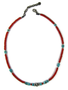 Mediterranean Coral & Turquoise Heishi Necklace (NK4974)