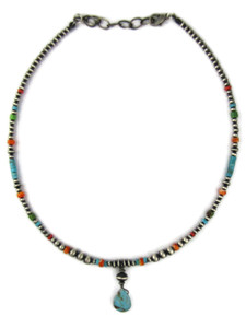 Turquoise Heishi & Spiny Oyster Shell Bead Necklace (NK4976)