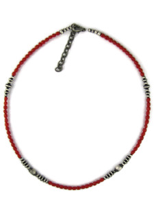 Mediterranean Coral & Silver Bead Necklace (NK4977)