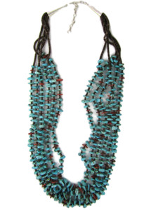 Six Strand Turquoise & Spiny Oyster Shell Bead Neccklace (NK4971)