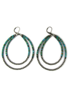 Double Turquoise Silver Heishi Bead Loop Earrings by Ester Reano (ER5997)
