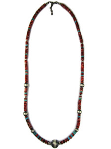 Long Spiny Spiny Oyster Shell Silver Bead Necklace (NK49080)