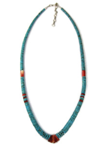 Turquoise Heishi Spiny Oyster Shell Jacla Necklace (NK4981)