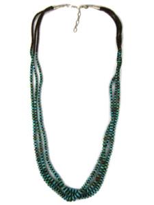 Three Strand Turquoise Heishi Penshell Necklace (NK4982)
