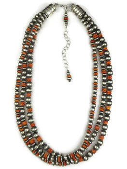 Orange beaded necklace set