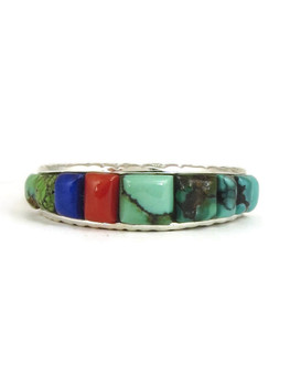 Inlaid Coral Turquoise Ladies Pointer Ring Sterling Drop Design 1518