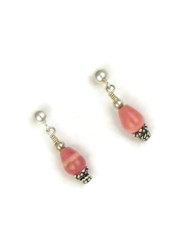 Garnet and Rhodochrosite Beaded Earrings