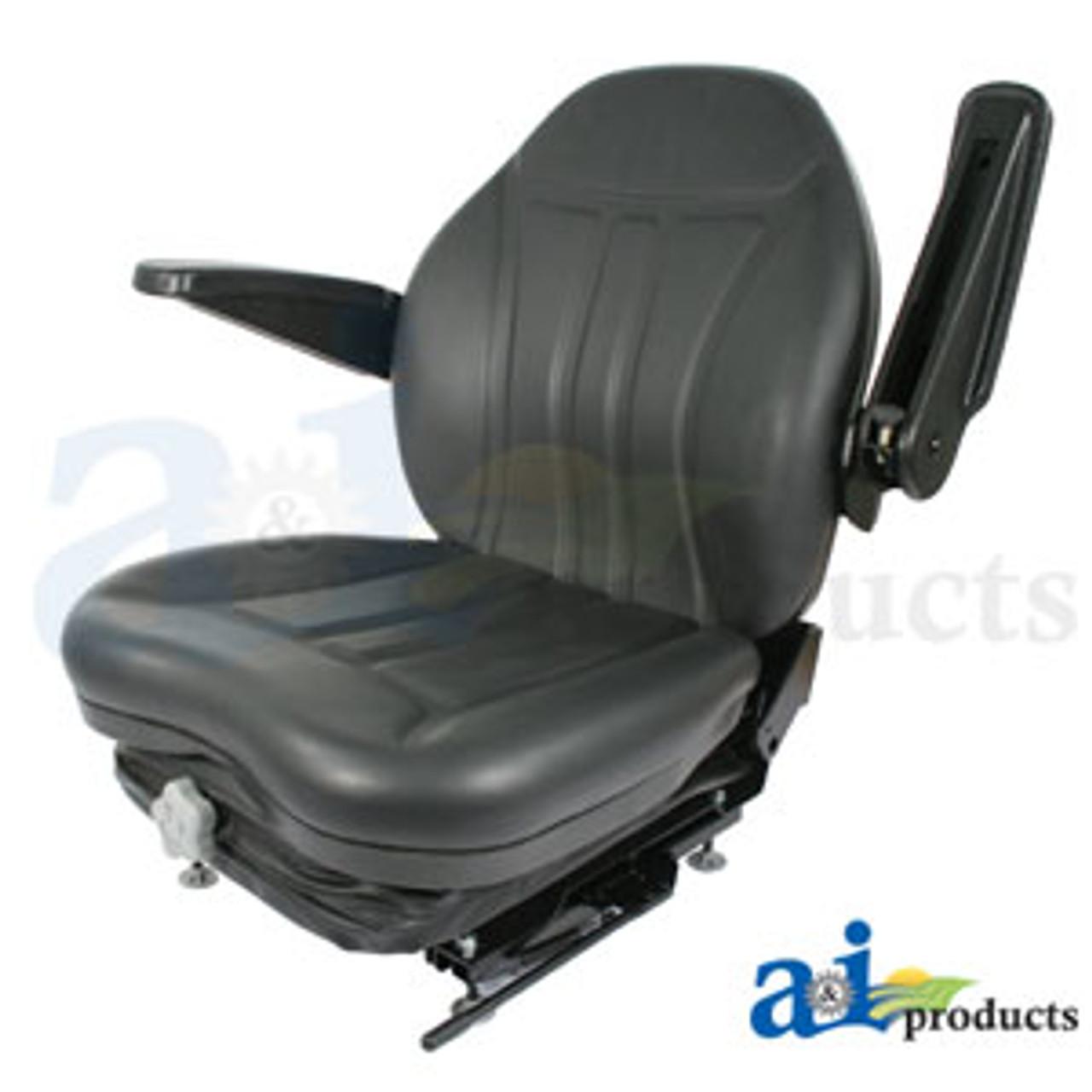 High Back Industrial Seat w/ Suspension, Slide Track & Armrests, Black  Vinyl A-HIS360