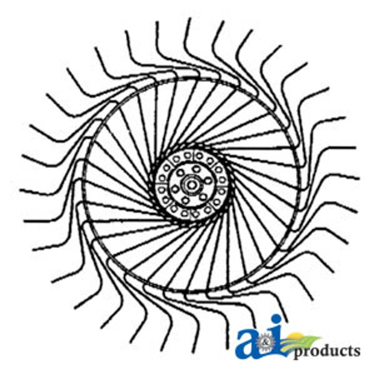 Rake Wheel Complete, (LH) w/ 7mm Tines A-P20BG004