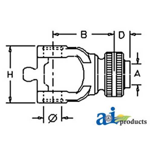 A-BP5720M0376-A-Tractor Yoke, Splined 1 3/8