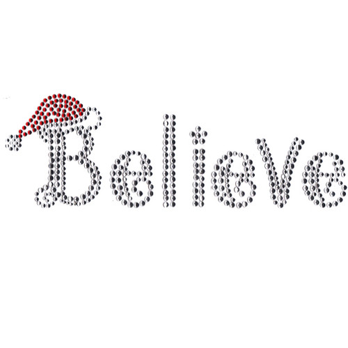 Christmas Believe with Red Santa Clause Hat Iron On Design