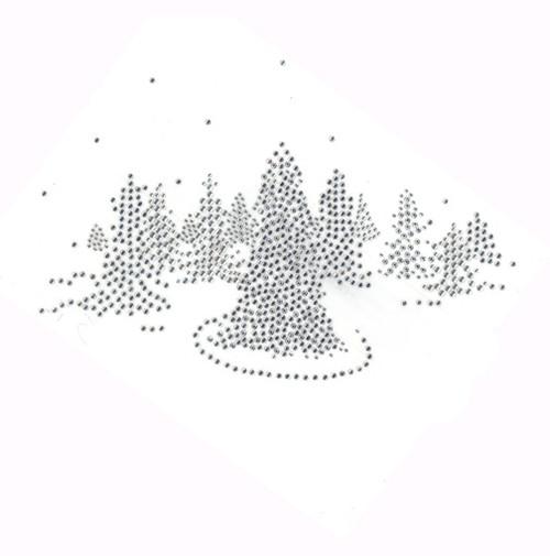 Christmas Evergreen Tree Landscape Snow Scene Iron On Design