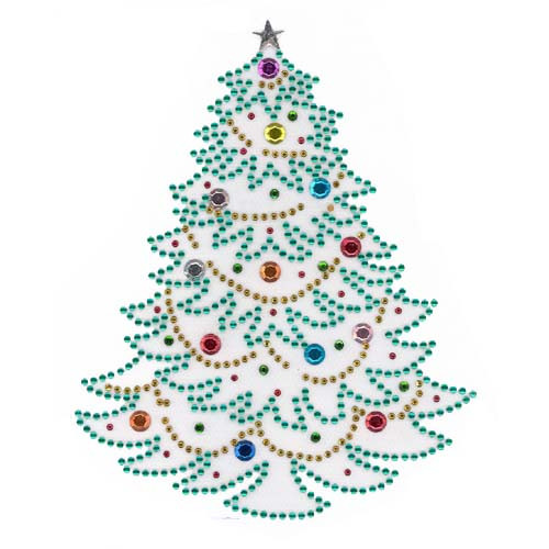 Christmas Holiday Tree with Ornaments and Star Iron On Design