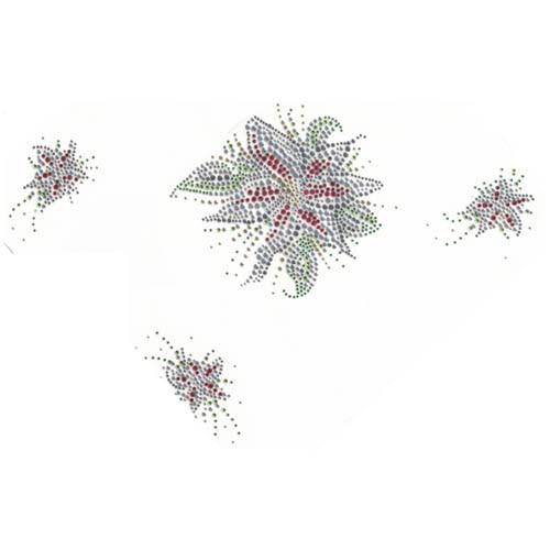 Christmas Poinsetta 4 Piece Pattern Iron On Design
