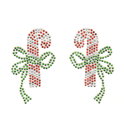 Christmas Red and White Candy Cane Pair with Green Bow Iron On Design