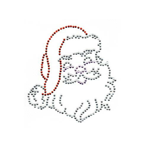 Christmas Santa Clause Face with Red Hat and Beard Iron On Design
