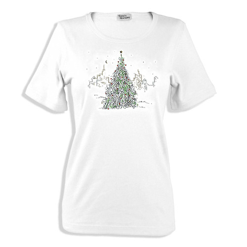 Christmas Tree City Building Skyline Scene Iron On Design